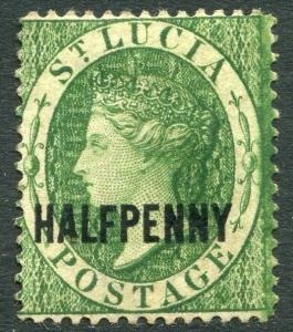 ST LUCIA-1881 ½d Green  Sg 23 AVERAGE MOUNTED MINT V19975
