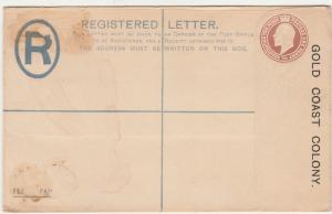 GOLD COAST 1900S KEVII REGISTERED LETTER POSTAL STATIONARY COVER