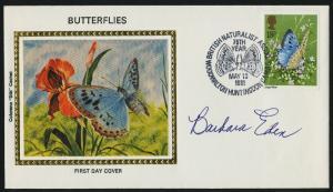 Great Britain 942 FDC Butterflies - Barbara Eden Signature - Colorano Silk Cahet