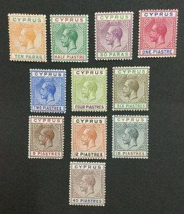 MOMEN: CYPRUS SG #74-84 1912-15 MINT OG H LOT #204274-10047