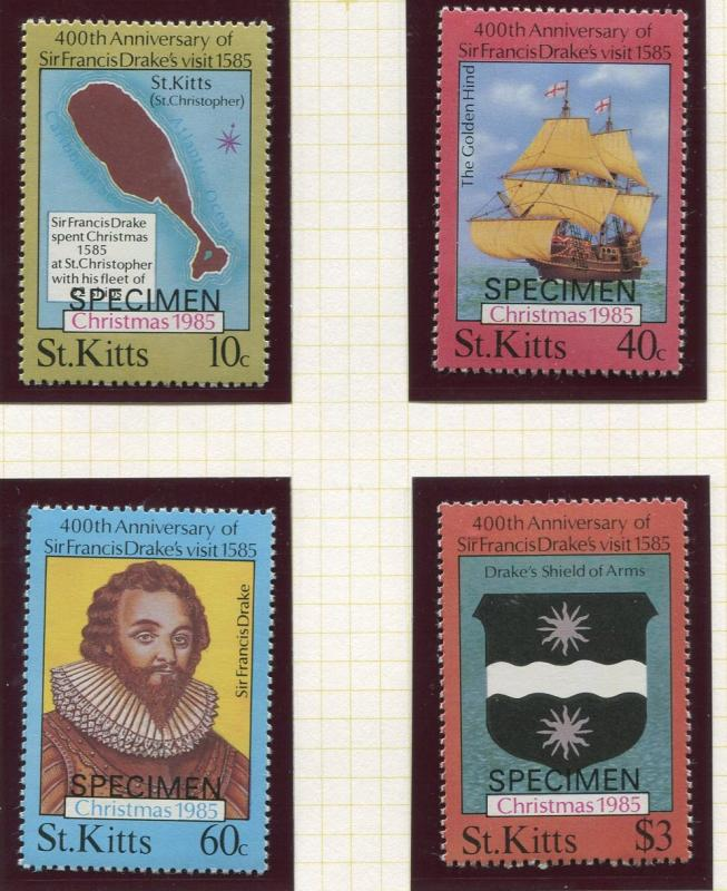St Kitts - Scott 173-176 -Specimen- Christmas -1985 -MNH- Set of 4 Stamps