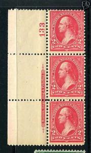 Scott #266 Washington Mint Plate # & Imprint Strip of 3 NH