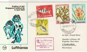 Singapore 1965 1st Flight LH Singapore-Frankfurt Airmail Stamps Cover Ref 29402