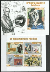ML633 2013 MALDIVES ART 40 MEMORIAL ANNIVERSARY OF PABLO PICASSO KB+BL MNH