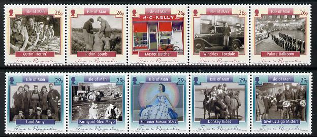 Isle of Man 2005 Time to Remember perf set of 10 (2 strip...