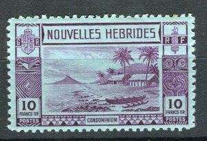 FRENCH; NEW HEBRIDES 1938 early pictorial issue fine Mint hinged 10Fr. value