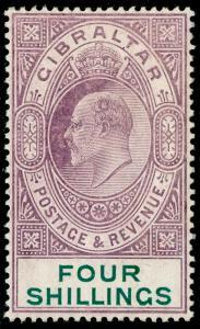 GIBRALTAR SG63, 4s deep purple & green, M MINT. Cat £350.
