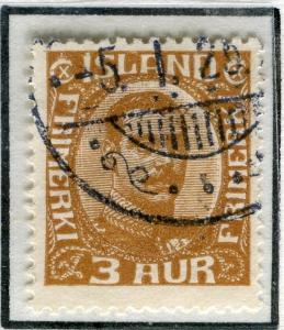 ICELAND;  1920 early Christian X issue fine used 3a. value