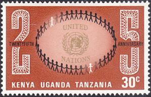 Kenya-Uganda-Tanzania # 221 mnh ~ 30¢ UN Emblem