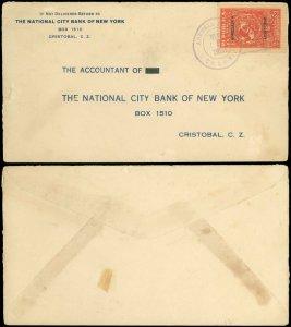 MAR 5 1928 AGENCIA POSTAL COLON Cds, NY NAT'L BANK C/C, #256 LINDBERGH OVERPRINT