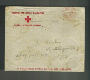 1943 Jerusalem Palestine  Stampless cover British Red Cross Envelope to Tel Aviv