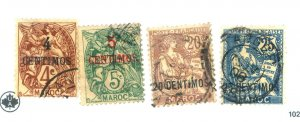 French Morocco #14-15,17-18 Used Fine Cat$40