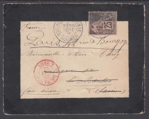 French Colonies Sc 54 on 1891 Mouring Cover, NOUMEA-PARIS