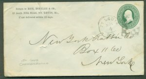 1870's 3¢ envelope w/ST LOUIS CHECKERBOARD CANCEL, unusual