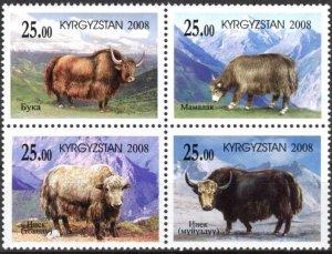 Kyrgyzstan 2008 Fauna Yaks of Kyrgyzstan set of 4 MNH
