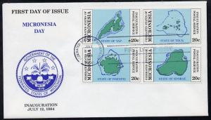 Micronesia 1984 Postal Independence se-tenant set of 4 Ma...