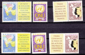 J27457 1961 romania mnh set + imperf set #1469-71  united nations