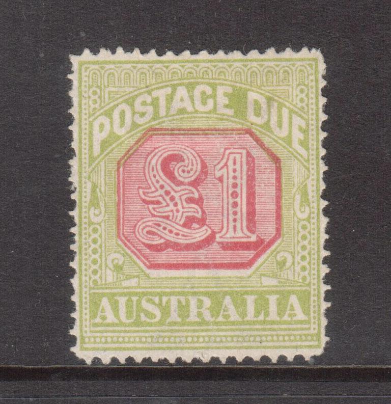 Australia #J49a (SG #D87) VF Mint One Pound Scarlet & Pale Yellow Green