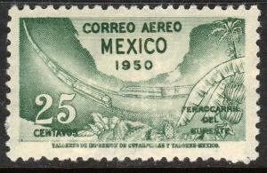 MEXICO C201, 25¢ Opening of Southeastern Railroad. UNUSED, H OG. F-VF.