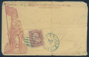 RED COLOMBIA FLAG & SWORD ON PATRIOTIC COVER TRIMMED @RT WELL TRAVELLED BU1632