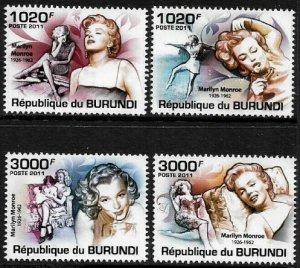 Burundi MNH 956-9 Marilyn Monroe 2011 SCV 12.50