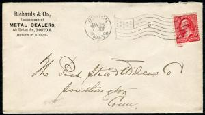 Postal Cover - BOSTON MA TO SOUTHINGTON CT - JAN 26 1900 AMF-B14 G - S6349