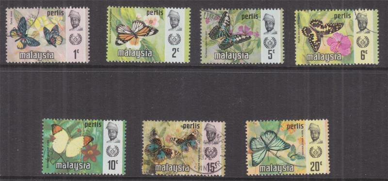 PERLIS, MALAYSIA, 1971 Butterflies set of 7, used, 2c. lhm.