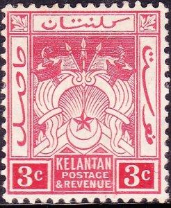 MALAYA KELANTAN 1911 3c Red SG3 MH
