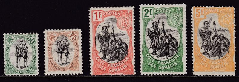 French Area Somali Coast 1903 Five Mint Stamps nr. 59-63 From the Long Set F/VF