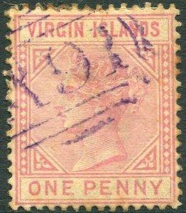 BRITISH VIRGIN ISLANDS-1883 1d Pale Rose Sg 29 GOOD USED V33650