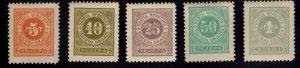 Montenegro Scott J9-J13 MH* complete 1902 Postage Due set