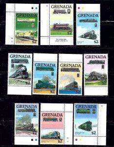 Grenada 1684a-j MNH 1989 Locomotives    (ap1357)