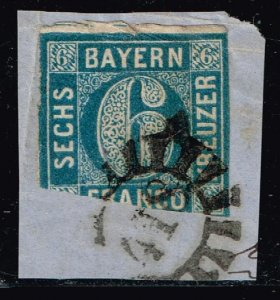 GERMANY STAMP BAVARIA BAYERN 6KR NUMERAL IMPERF USED ON PAPER