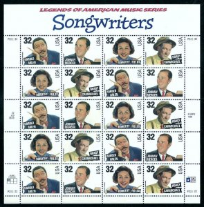 PCBstamps  US #3100/3103 Sheet $6.40(20x32c)Songwriters, MNH, (3)