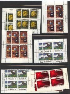 Canada - 1970-1971 Four Different Commemoratives in Blocks
