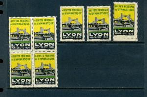 7 VINTAGE 1926  LYON FETE FEDERALE DE GYMNASTIQUE  POSTER STAMPS  (L728) FRENCH