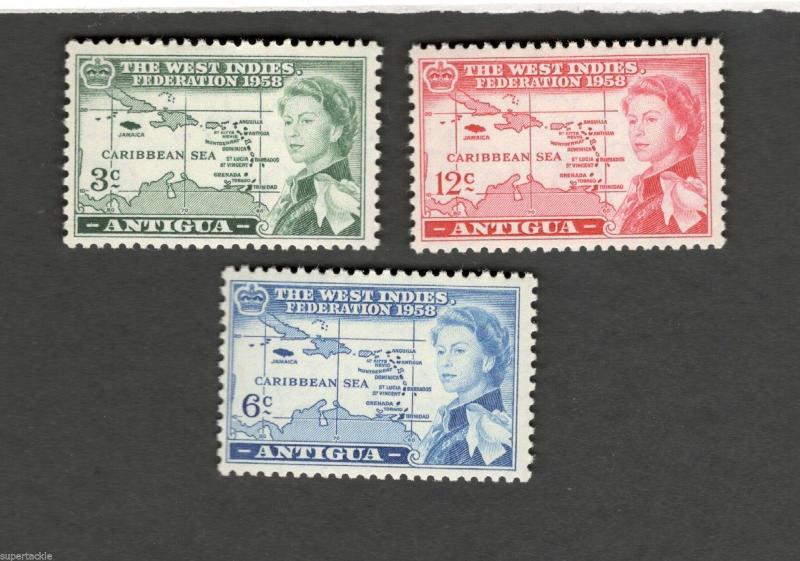1958 Antigua SC #122-24 The West Indies Federation MNH stamps