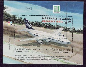 Marshall Is.-Sc#678- id7-unused NH sheet-Planes-1998-