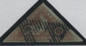 Cape of Good Hope 1853 1d on blued paper with 3 good to large margins used