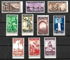 TURKEY STAMPS 1938, THE IZMIR INTERNATIONAL FAIR, ATATURK, Sc#789-798 ,MH
