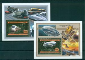 Trains Locomotives Zeppelines Concorde Space Transport Ivory Coast MNH stamp set