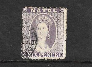 NATAL 1863 6d LILAC  QV   FU  SG 23