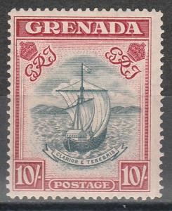 GRENADA 1938 SHIP 10/- NARROW PERF 14