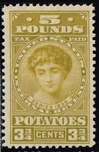 US STAMP BOB #RI5 3 3/4c -5 pound Potato Tax Stamps 1935 MH/OG THIN