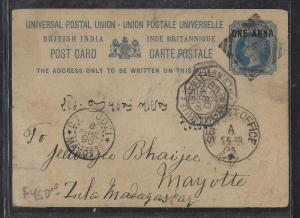INDIA (P2810B)  1898  QV  PSC SENT TO MAYOTTE, MADAGASCAR  RARE DESTINATION