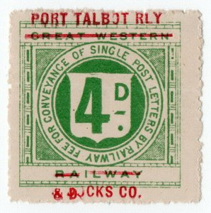 (I.B) Port Talbot Railway : Letter Stamp 4d (on GWR issue)