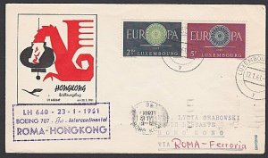 LUXEMBOURG 1961 Lufthansa first flight cover to Hong Kong via Rome..........F967