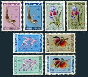 Afghanistan 604-608,C23-C25a,MNH.Michel 673-680,Bl.29. Runner,Diver,Peache,1962.