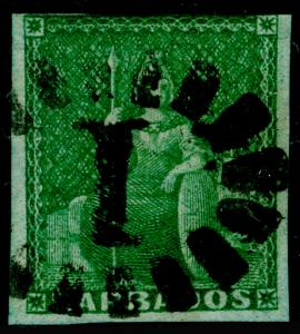 BARBADOS SG2, ½d Deep Green, FINE USED. Cat £325.