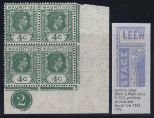 Mauritius, SG 254ca, 254cc, MNH plate block Serrated Edge, Open C variety